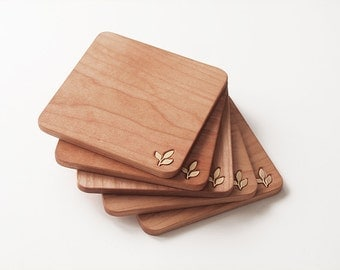 1pcs-Cherry or Maple wood coaster