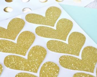 Glitter Heart Stickers (Set of 24)