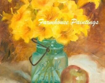 Ball Jar Print, Mason Jar Print, Ball Jar and Day Lily Print, 8x10 Fine Art Print of Original Oil Painting by Amelia Nowak