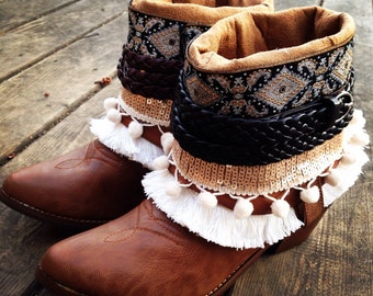 Size 8 New Gypsy Boho Boots Reworked Faux Leather Cowboy Boots
