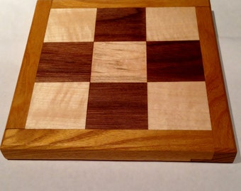 """Wooden Tic Tac Toe Board - Maple and Walnut with Mulberry Frame - Solid Wood Handmade 1.5"""" Squares"""