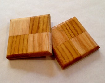 Wooden Coaster Set of Two in Ash and Mulberry - Beer, coffee, tea, candle holder