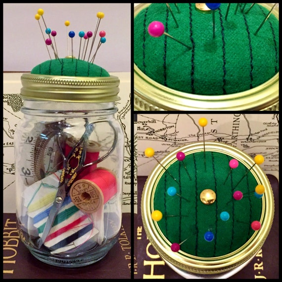 Hobbit Door Mason Jar Pin Cushion