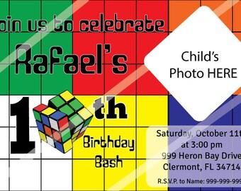 Rubik's Cube - Digital Printable Birthday Invitation