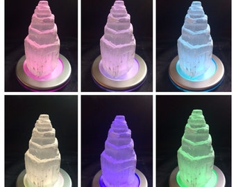 Stunning Selenite tower with colour changing  Remote controlled LED light base - Ice Tower