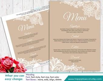 Modello del menu di nozze fai da te stampabile download - Modello daffodil stampabile ...