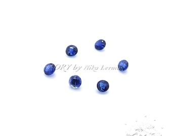 6pcs 1.5mm Deep Blue Sapphire, Heated, VVS-VS,  Madagascar, 1.52 mm x 0.97 mm (avg), Round, Faceted