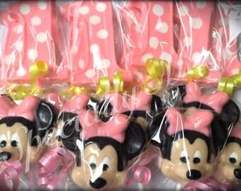 1st birthday Minnie Mouse lollipops. Minnie Mouse 1st birthday lollipops. Minnie Mouse 1st birthday party favors. Minnie Mouse. Minnie