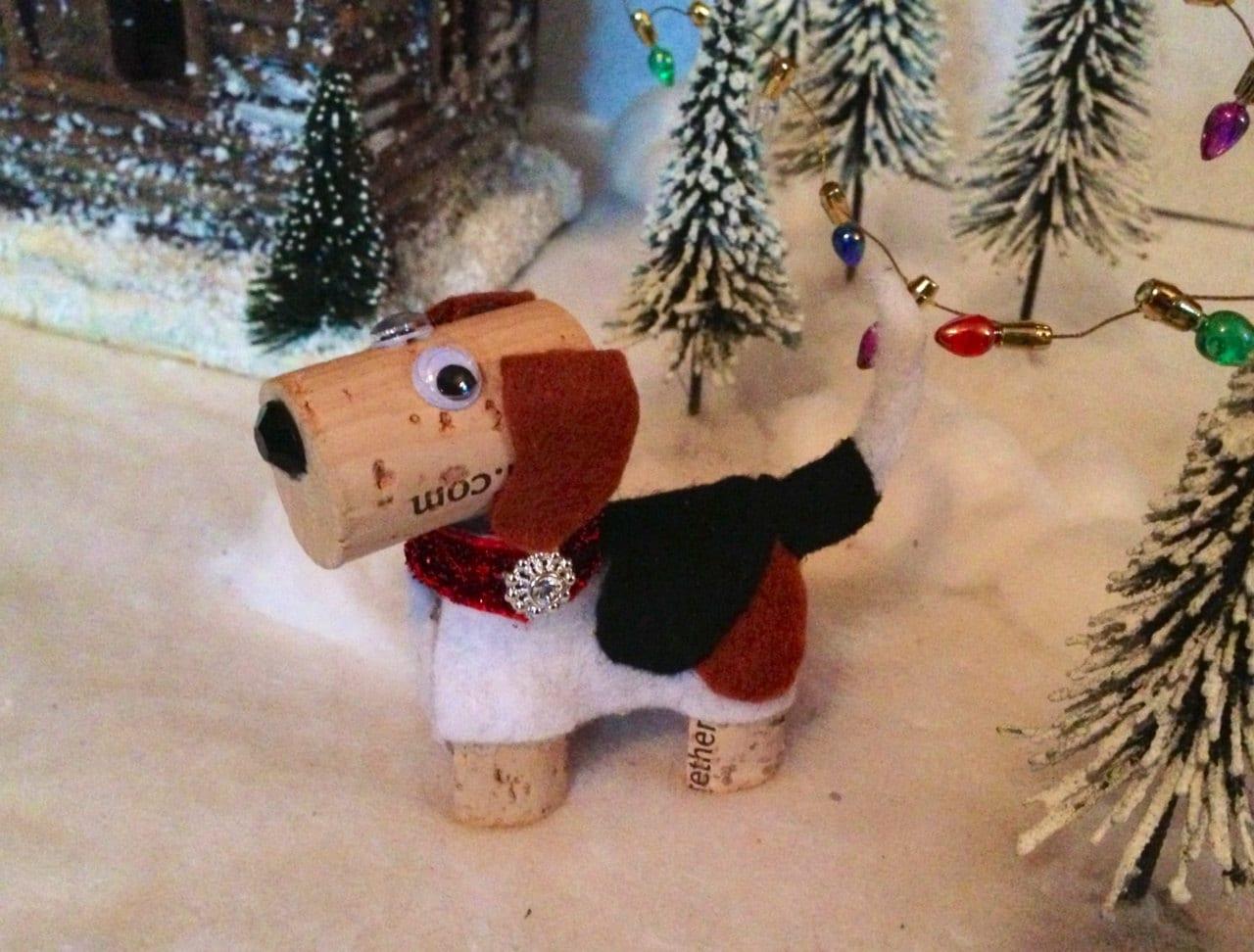 Beagle dog ornament wine cork craft wine decor by for Cork balls for crafts