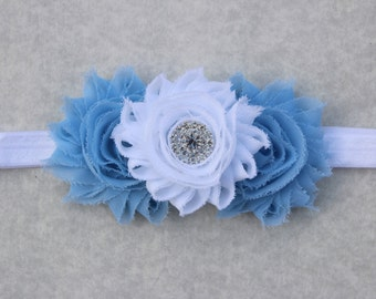 Blue and white girls headband, toddler light blue headband, blue flower girl headband, children headbands, light blue birthday headband