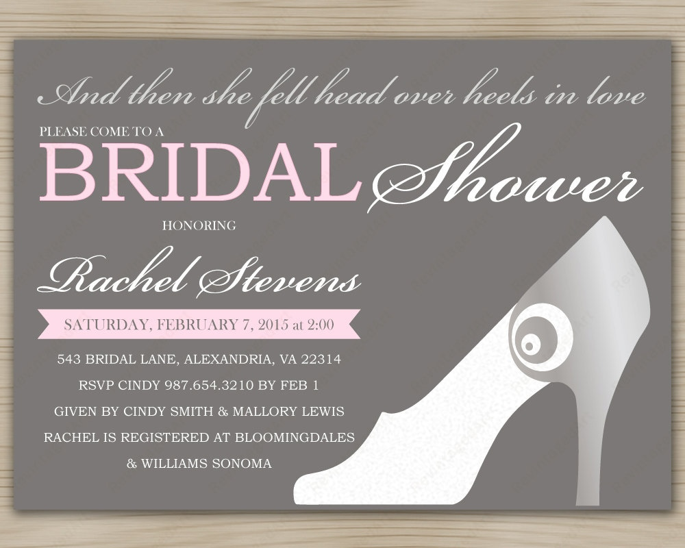 bridal shower invitation with moderne high heel shoe in pastel pink yellow aqua or mint taupe gray background diy digital printables