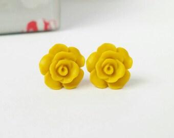 Mustard stud earrings, mustard earrings, yellow rose earrings, yellow stud earrings, cute stud earrings, rose stud earrings, flower studs