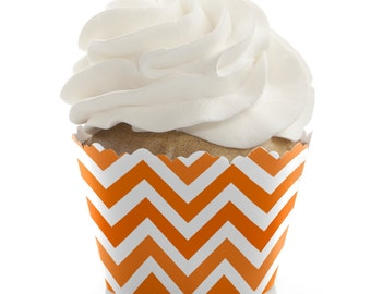Chevron Orange Cupcake Wrappers - Baby Shower or Birthday Party Cupcake Decorations - Set of 12