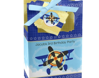 Airplane Favor Boxes - Custom Baby Shower and Birthday Party Supplies - Set of 12