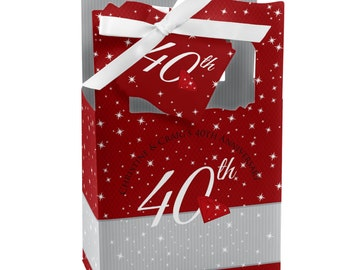 40th Anniversary Favor Boxes - Custom Anniversary Party Supplies - Set of 12