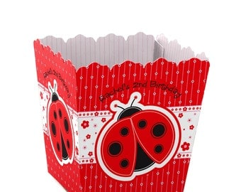 Ladybug Custom Small Candy Boxes - Personalized Baby Shower or Birthday Party Supplies - Set of 12