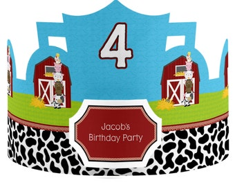 8 Custom Farm Animals Party Hats - Birthday Party Hats - Party Supplies - 8 Count