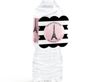 12 Paris Water Bottle Labels - Personalized Baby Shower and Birthday Party Supplies