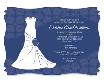 Wedding Dress Blue Personalized Bridal Shower Party Invitations - Party Decorations - Bridal Shower Party Supplies - Set of 12
