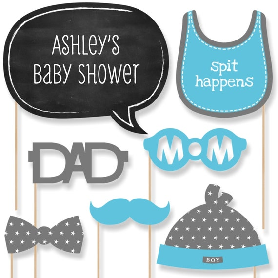 20 baby shower photo booth props blue boy kit with mustache hat