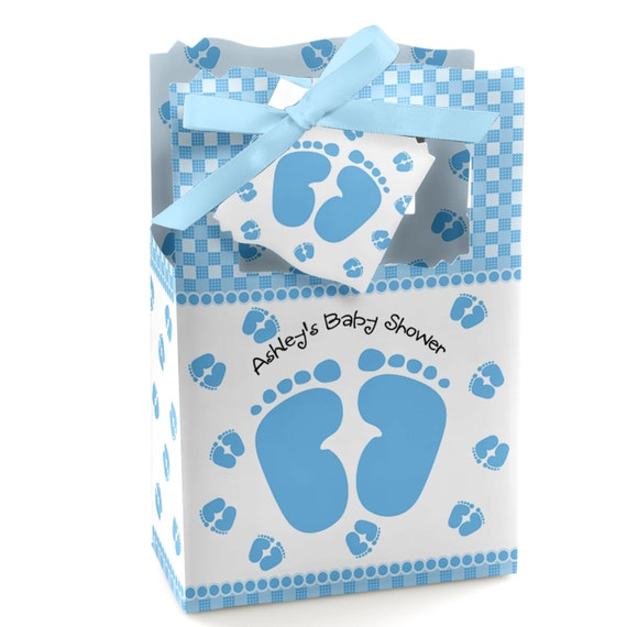 Baby Shower Favors At Babies R Us ~ Baby feet blue favor boxes custom shower party supplies