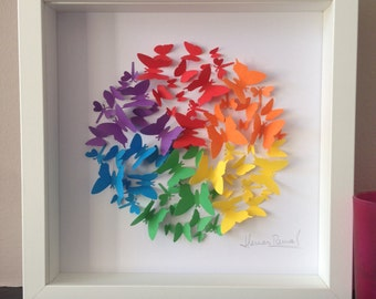 3D framed Rainbow circle with butterflies - Weddings - Unique gift - Gay Pride