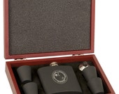 6 oz Matt Black or Stainless Steel Flask Set in Wood Presentation Box.  Box can also be personalized