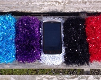Phone Sock. Sparkly Phone Cover. Cell Phone Pouch.