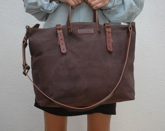 waxed canvas bag/tote bag/ with leather handles and closures,bronze color