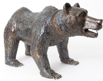 Recycled Metal Bear Sculpture Walking