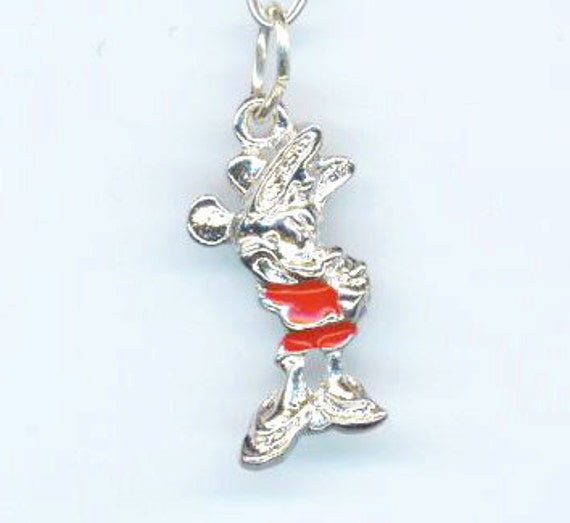 Mickey Mouse Charm Bracelet: Vintage Mickey Mouse Charm Necklace. Marked Sterling Silver