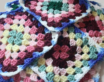 Multicolored Granny Squares destash lot of 9
