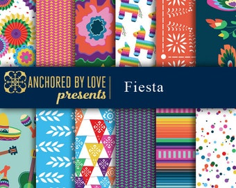 Fiesta digital paper, Mexican digital paper, Party digital paper, piñata, sombrero, papel picado, digital paper pack of 12