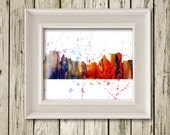 Asheville NC Skyline Cityscape Watercolor Print Printable Instant Download Poster Home Decor Wall Art SL016
