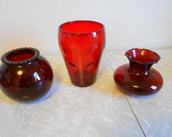 Vintage Ruby Red Glass Vases 3