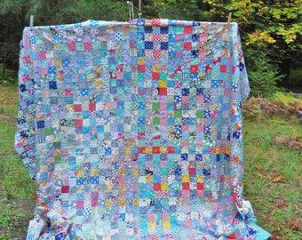 Postage stamp quilt top 1930's all hand stitched cotton 1512 blocks
