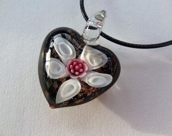 "Last One White / Pink ""Flower"" Unique Glass Heart Pendant on Black Necklace"