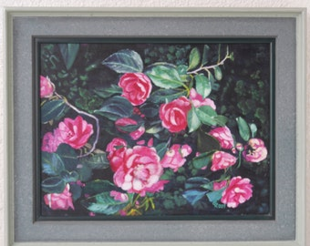 Flower oil painting, camellia in a frame