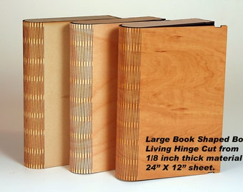 "Large Living Hinge Book Shaped Box.  Digital Pattern to make our best selling product. 11 1/4"" X 7 3/4"" X 2"" cut from 1/8"" plywood."