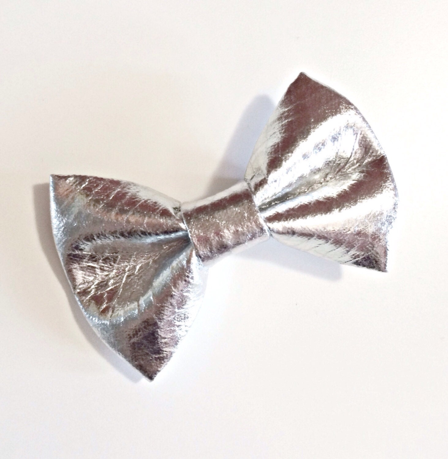 metallic silver bow tie baby bow tie by dearestanddashing