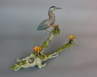 Bare-throated Tiger Heron- Miniature - Wildfowl Wood Carving - Bird Art