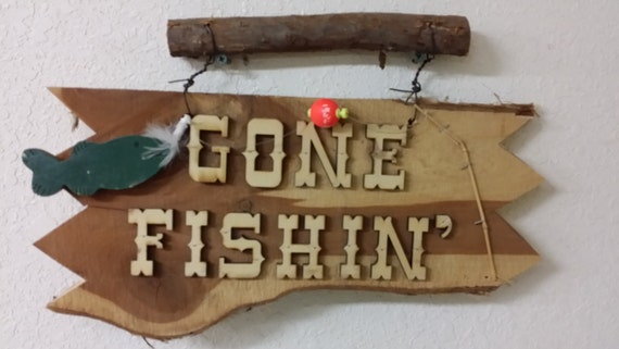 Gone Fishing Cabin Decor Cedar Signs Fishing Signs