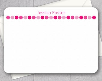 Pink Polka Dot Note Cards - 12pk, Custom Flat Note Cards, Printed with Envelopes (NC16)