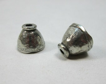 Hammered Silver Pewter Rustic Southwestern Bead Cap 10mm