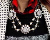 WINTER CLEARANCE - Price Marked is 30% OFF - Black and Rhinestone Statement Necklace; Black and Rhinestone Collar Necklace