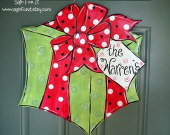 Gift-Wrapped Door Sign