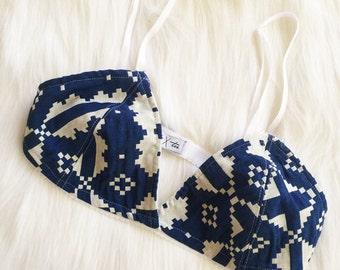 Handmade Blue Patterned Bralette