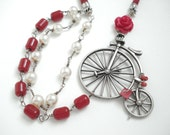 Handmade Unique Modern Necklace- Pearls and Antique Ottoman Real Cherry Bakelite Faturan Islamic Prayer Beads-Silver Old Fashion Bicycle