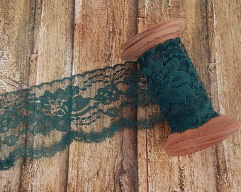 "Hunter Green Polyester Raschel Flat Lace Trim 3"" 5 yards"