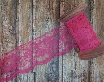 "Hot Pink Fuchsia Polyester Raschel Flat Lace Trim 3"" 5 yards"